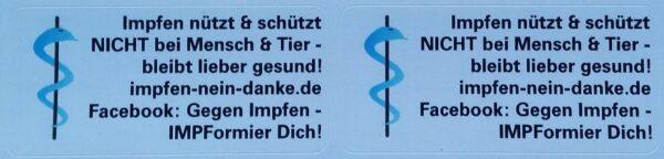 """Etikett blau """"Impfen nützt & schützt NICHT bei Mensch & Tier!"""""""