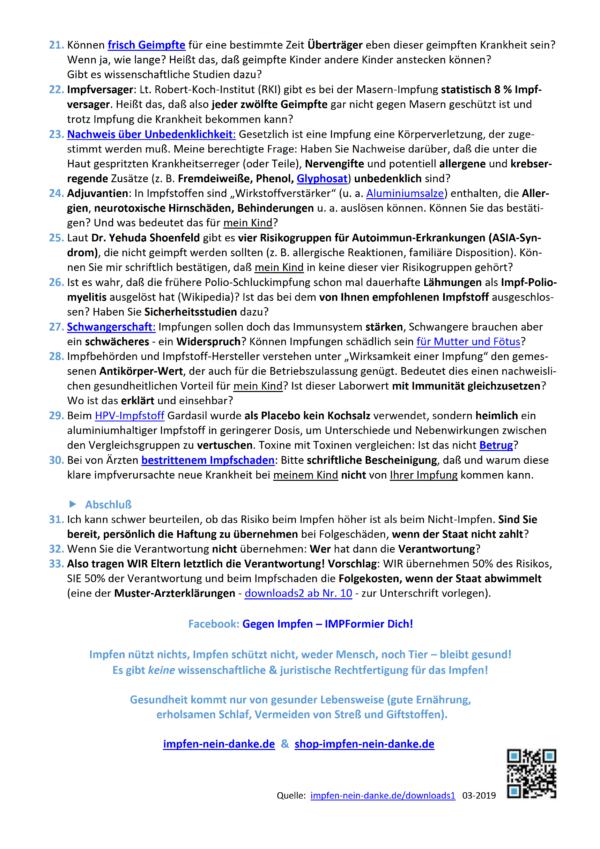 Flyer: 33 Fragen an Deinen Impfarzt!